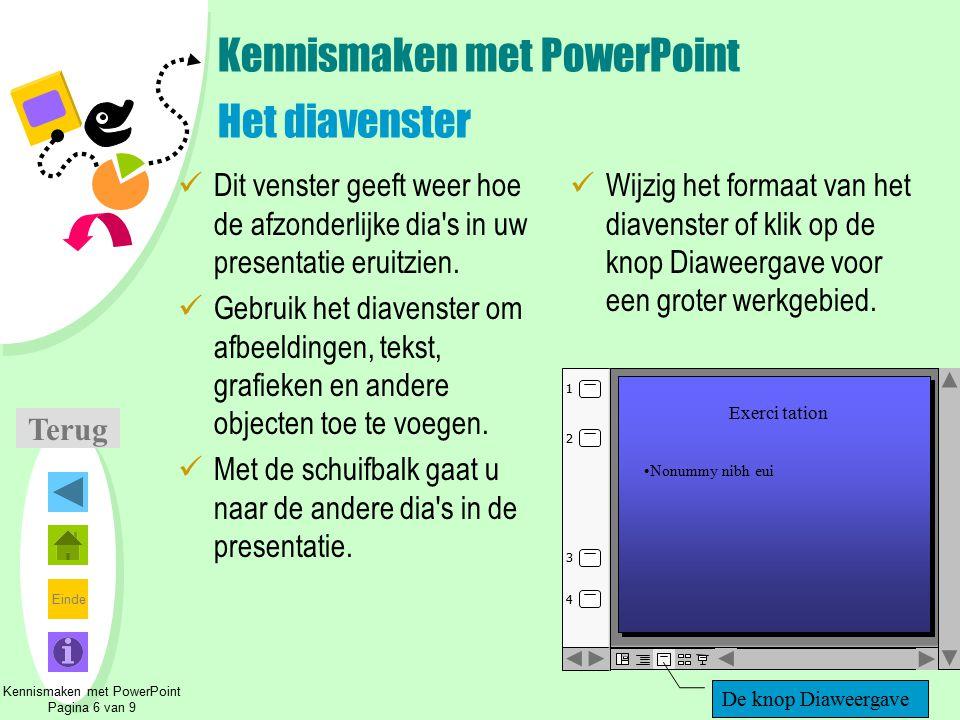 Kennismaken met PowerPoint Het diavenster