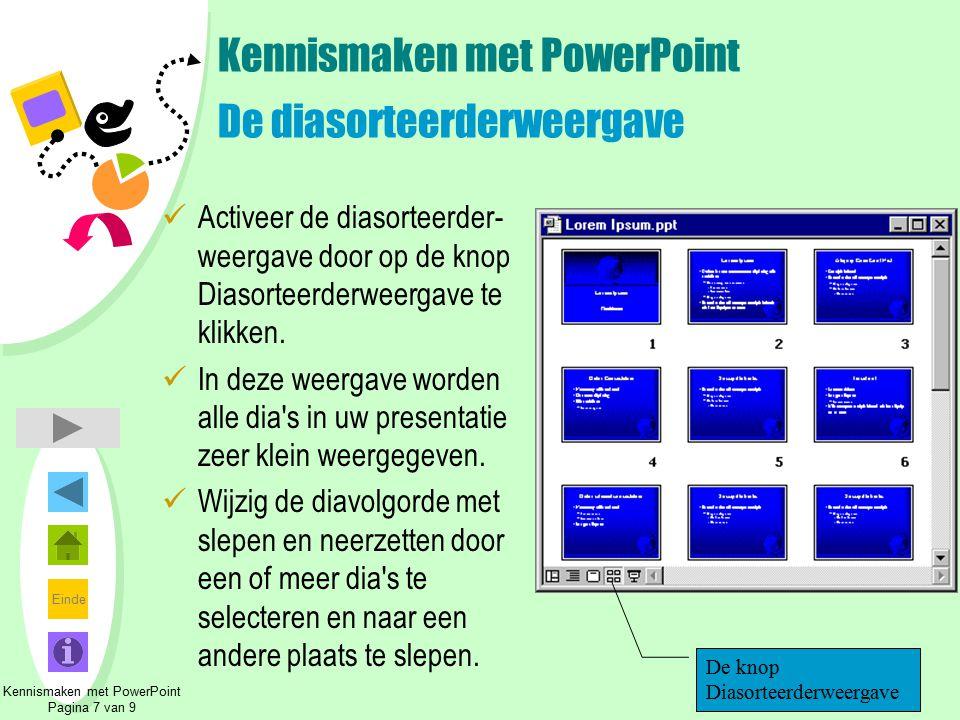 Kennismaken met PowerPoint De diasorteerderweergave