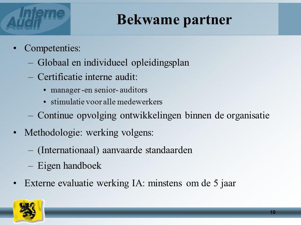 Bekwame partner Competenties: Globaal en individueel opleidingsplan