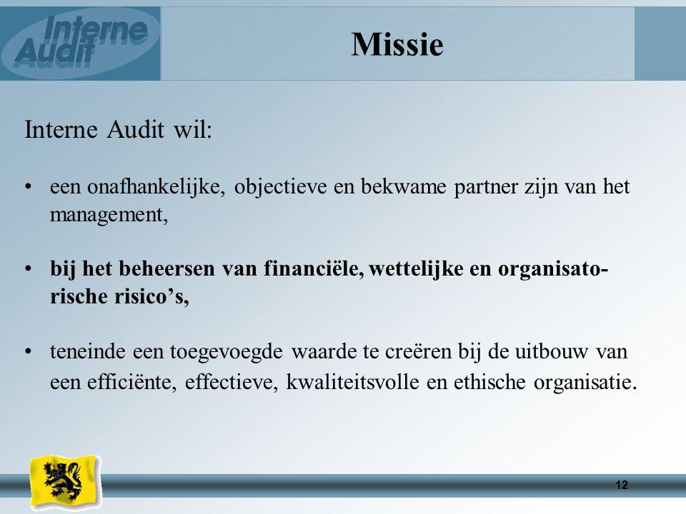 Missie Interne Audit wil: