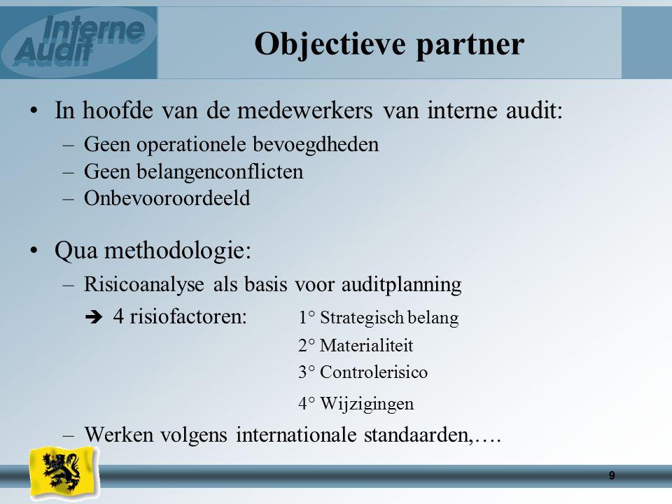 Objectieve partner In hoofde van de medewerkers van interne audit: