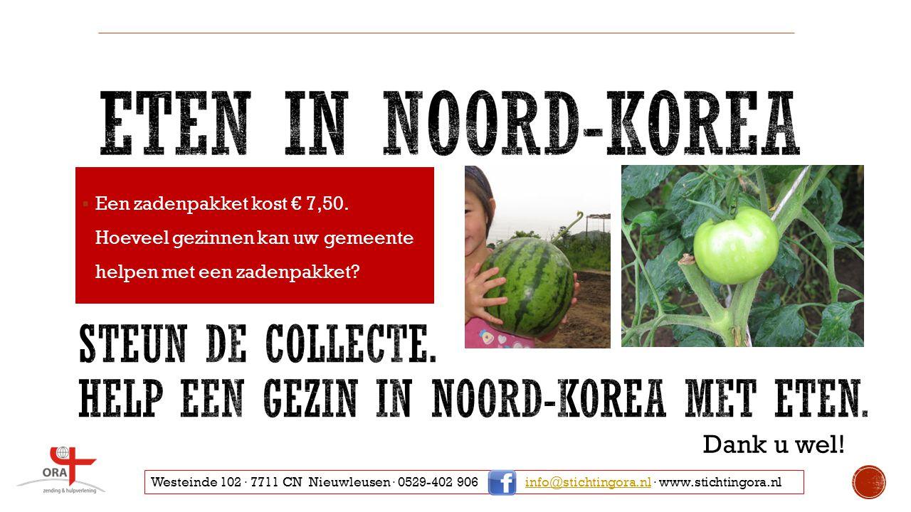 Steun de collecte. Help een gezin in noord-korea met eten.