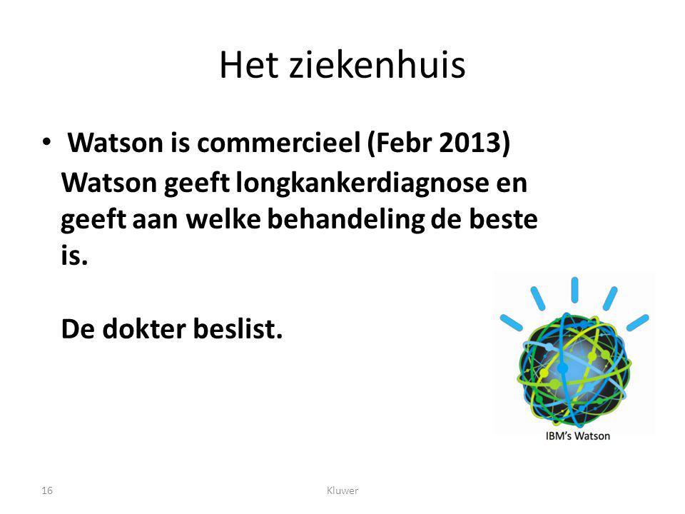 Het ziekenhuis Watson is commercieel (Febr 2013)