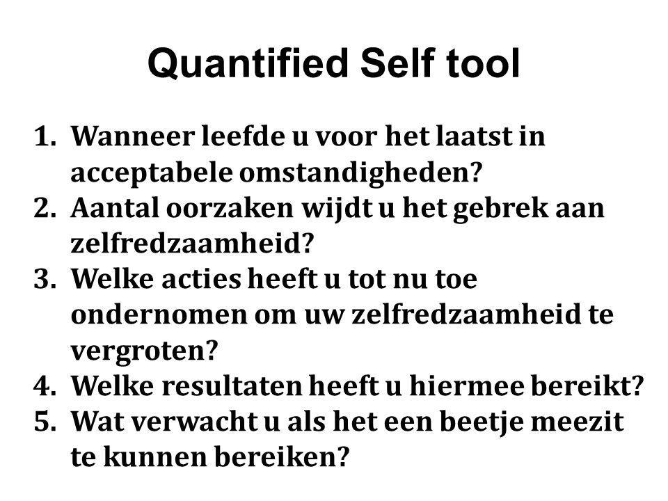Quantified Self tool Wanneer leefde u voor het laatst in acceptabele omstandigheden Aantal oorzaken wijdt u het gebrek aan zelfredzaamheid