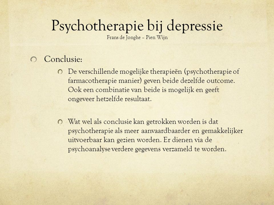 Psychotherapie bij depressie Frans de Jonghe – Pien Wijn