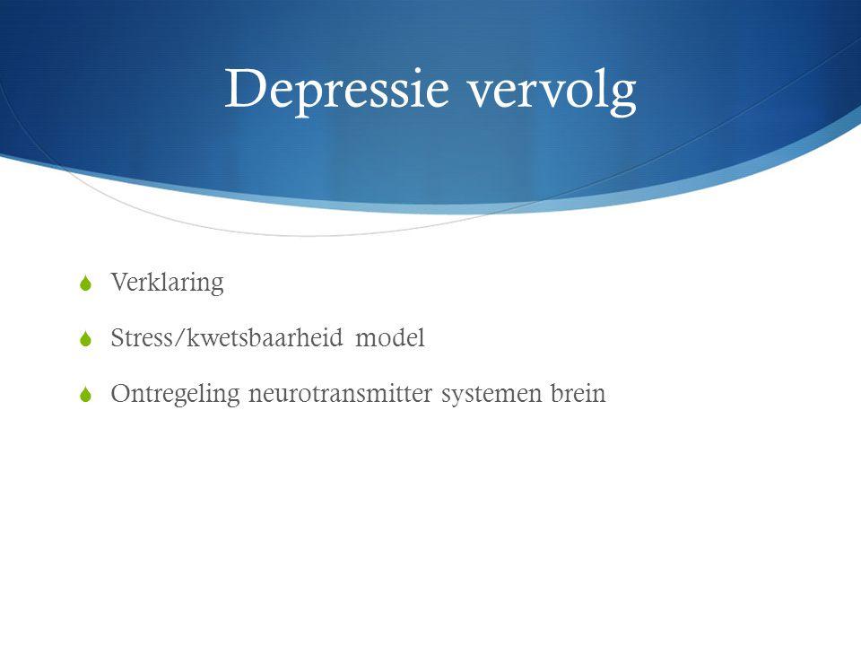 Depressie vervolg Verklaring Stress/kwetsbaarheid model