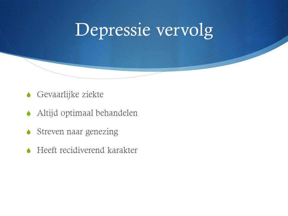 Depressie vervolg Gevaarlijke ziekte Altijd optimaal behandelen