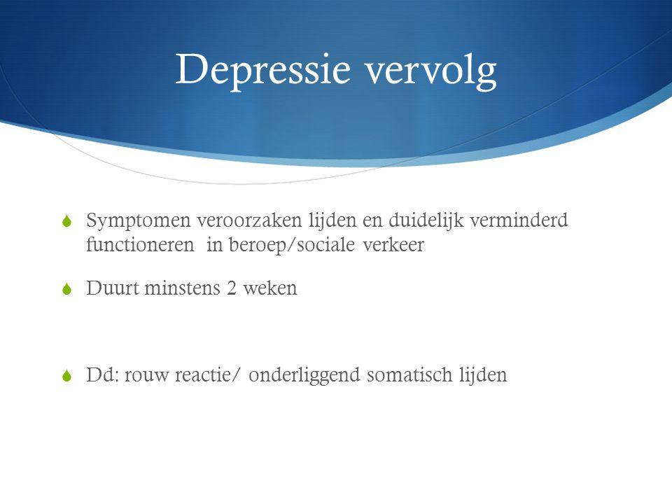 Depressie vervolg Symptomen veroorzaken lijden en duidelijk verminderd functioneren in beroep/sociale verkeer.