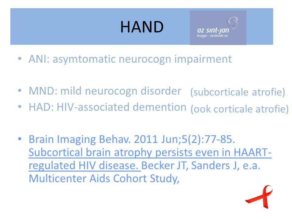 HAND ANI: asymtomatic neurocogn impairment