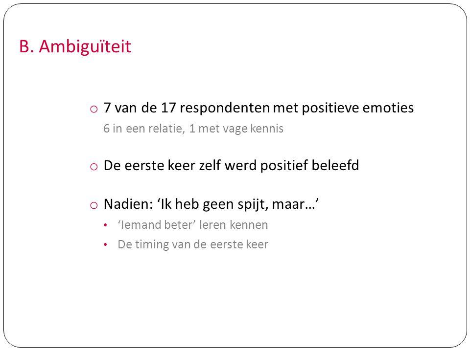 B. Ambiguïteit 7 van de 17 respondenten met positieve emoties