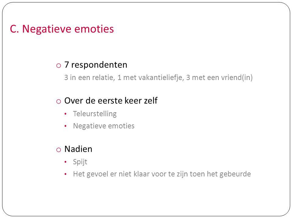 C. Negatieve emoties 7 respondenten Over de eerste keer zelf Nadien