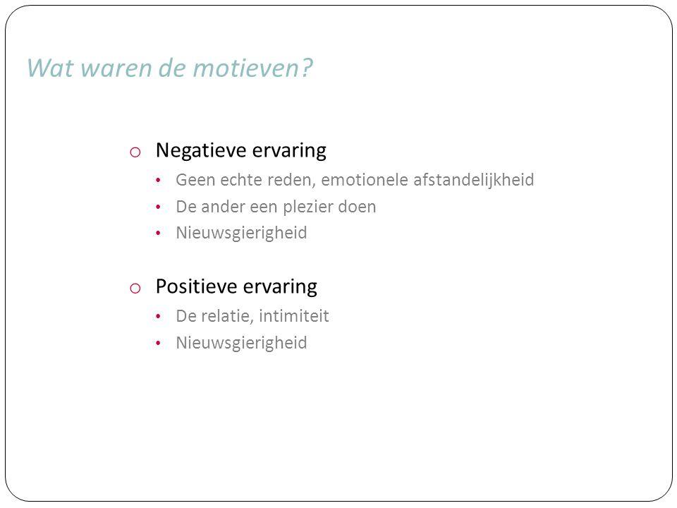 Wat waren de motieven Negatieve ervaring Positieve ervaring