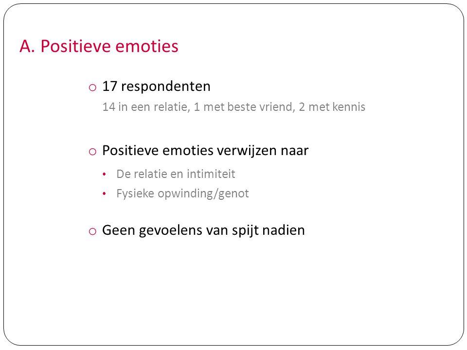 A. Positieve emoties 17 respondenten Positieve emoties verwijzen naar