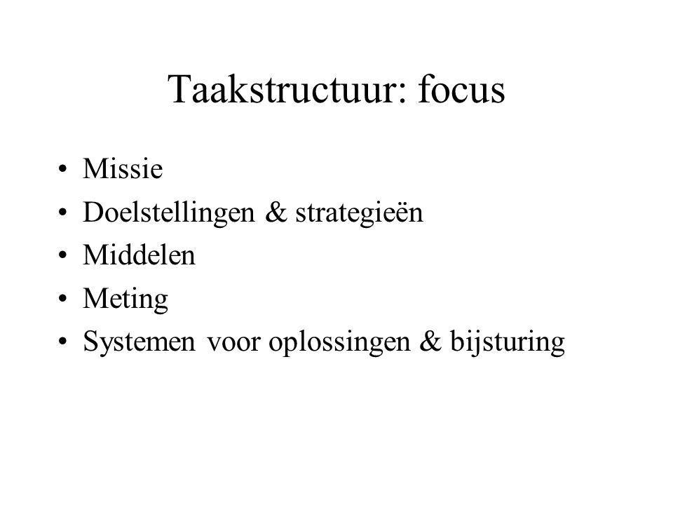 Taakstructuur: focus Missie Doelstellingen & strategieën Middelen