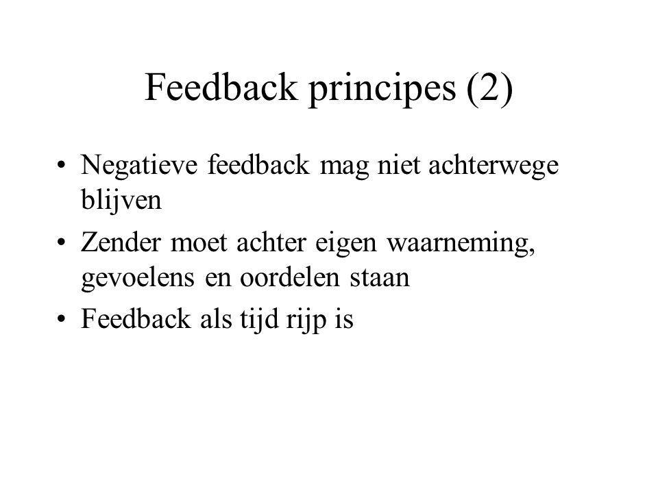 Feedback principes (2) Negatieve feedback mag niet achterwege blijven