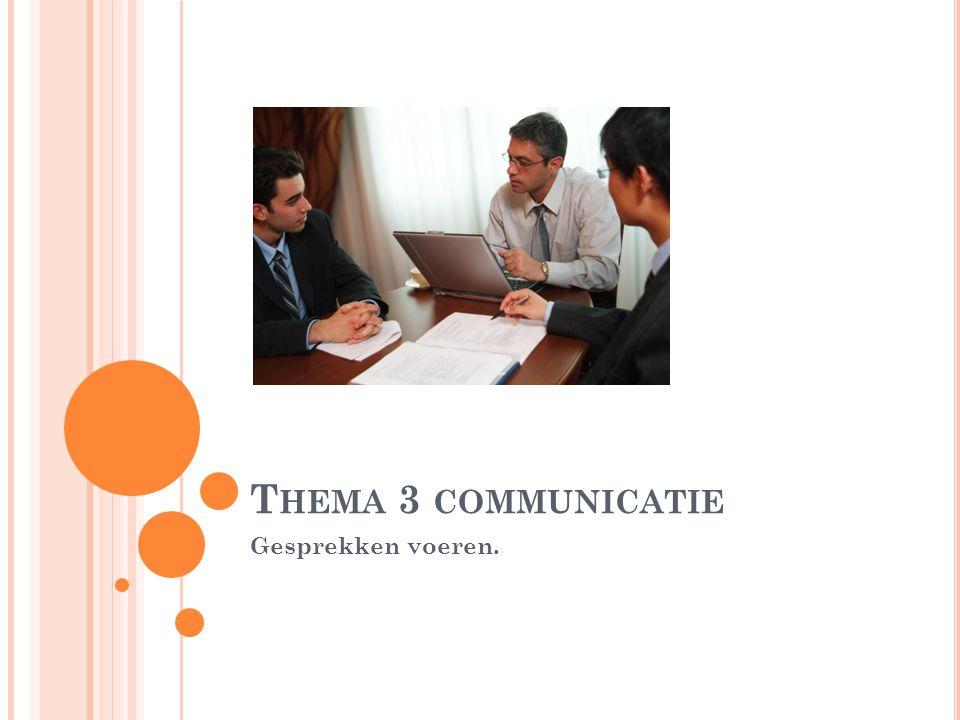 Thema 3 communicatie Gesprekken voeren.
