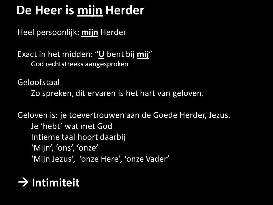 De Heer is mijn Herder  Intimiteit Heel persoonlijk: mijn Herder