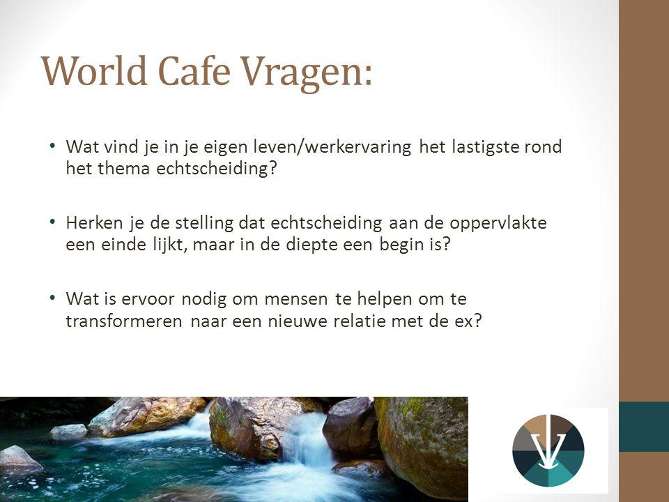 World Cafe Vragen: Wat vind je in je eigen leven/werkervaring het lastigste rond het thema echtscheiding