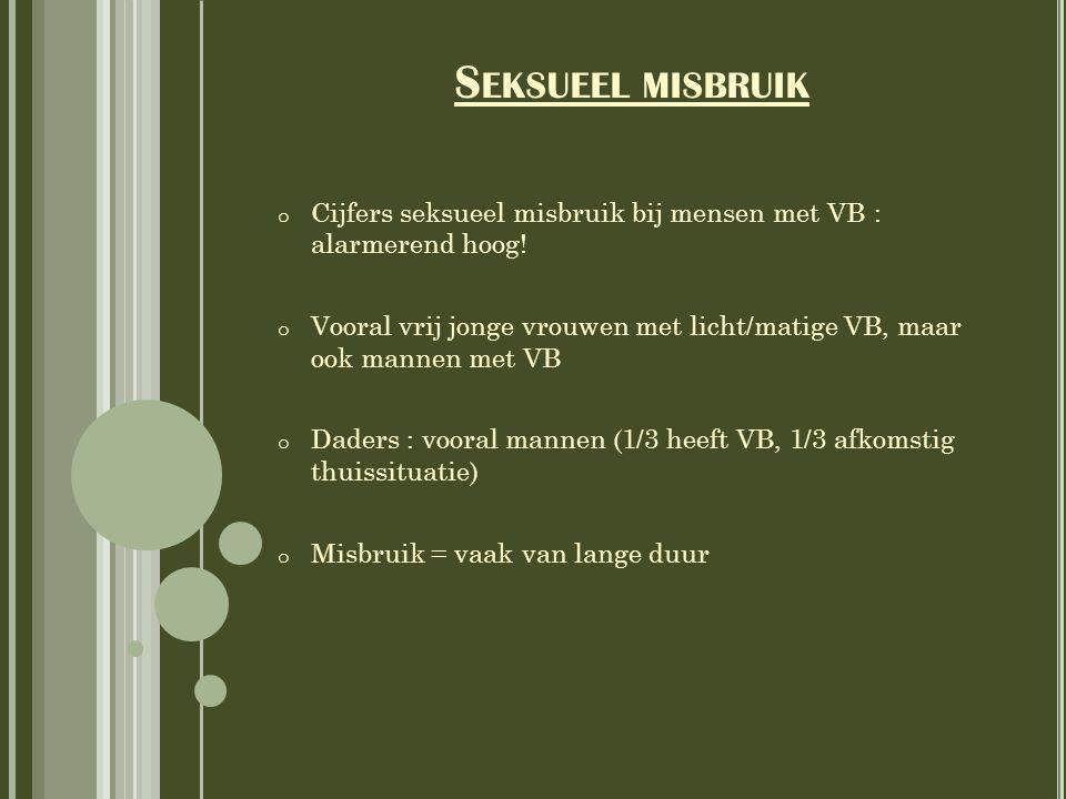 Seksueel misbruik Cijfers seksueel misbruik bij mensen met VB : alarmerend hoog!