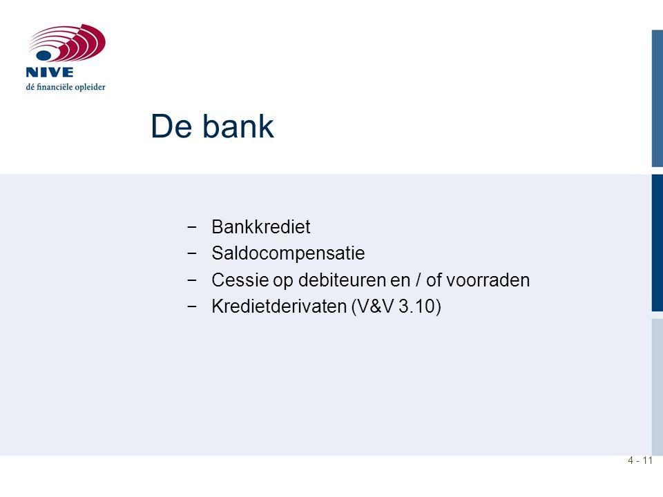 De bank Bankkrediet Saldocompensatie