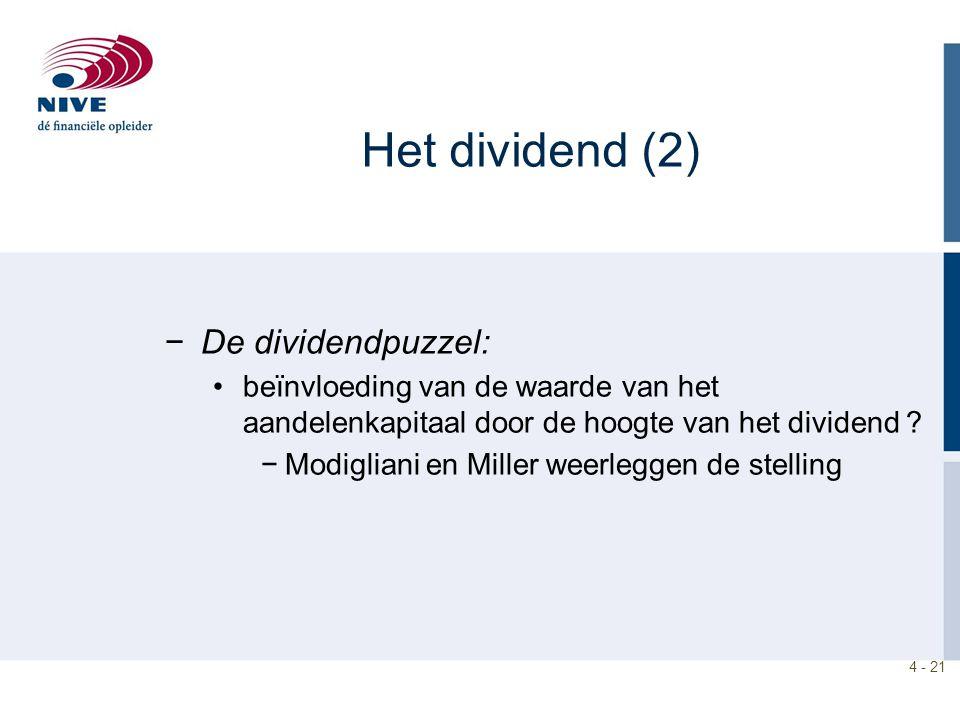 Het dividend (2) De dividendpuzzel: