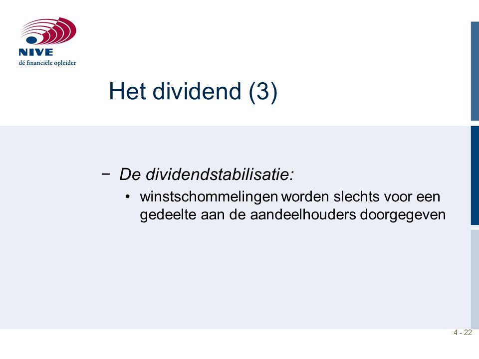 Het dividend (3) De dividendstabilisatie:
