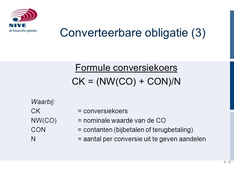 Converteerbare obligatie (3)