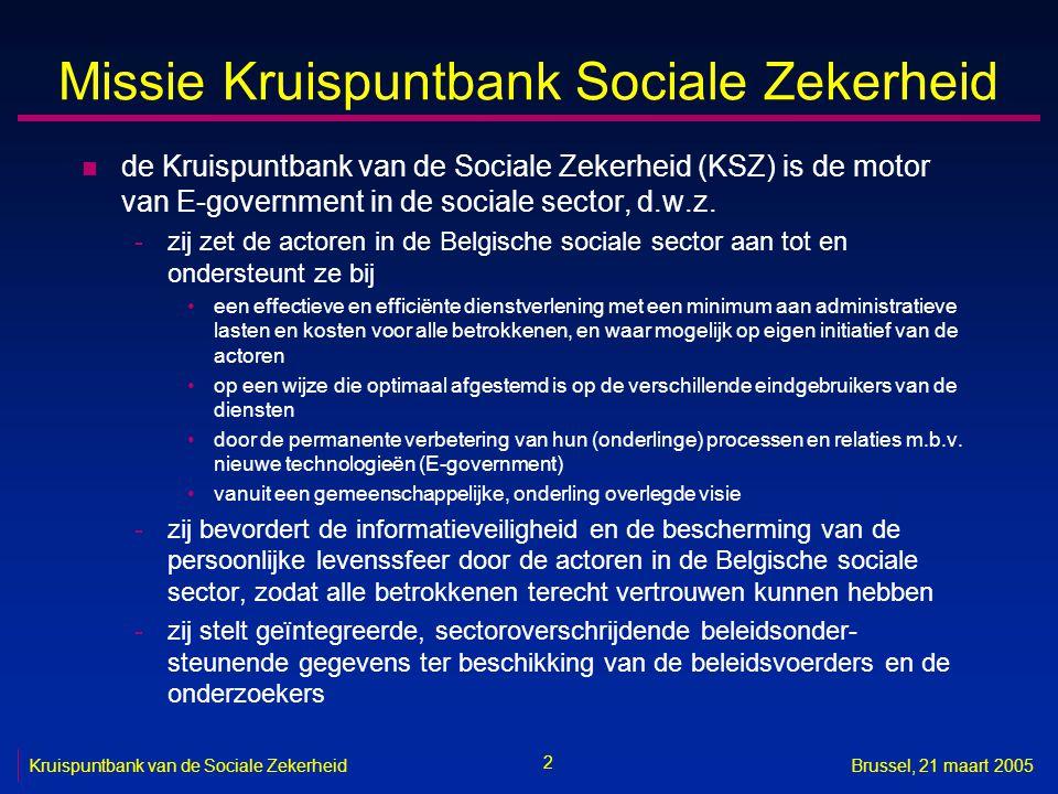 Missie Kruispuntbank Sociale Zekerheid