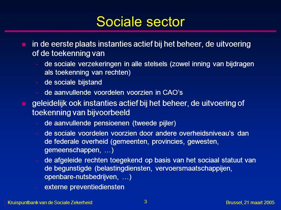 Sociale sector in de eerste plaats instanties actief bij het beheer, de uitvoering of de toekenning van.