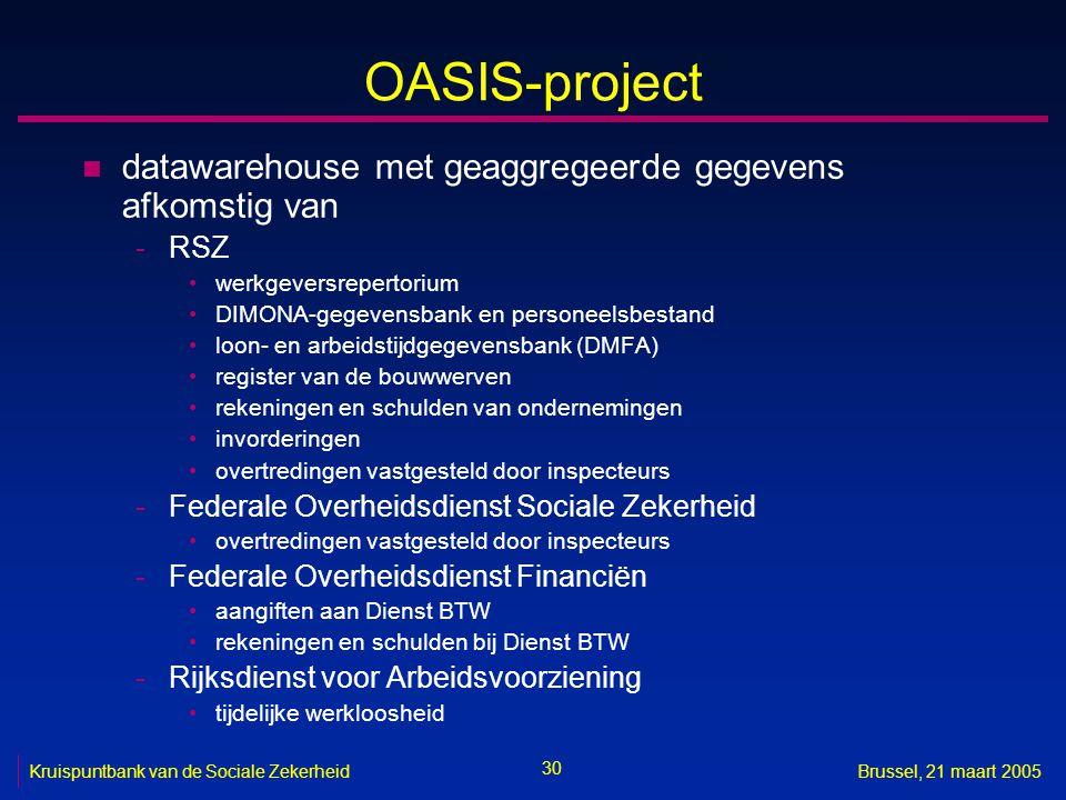 OASIS-project datawarehouse met geaggregeerde gegevens afkomstig van