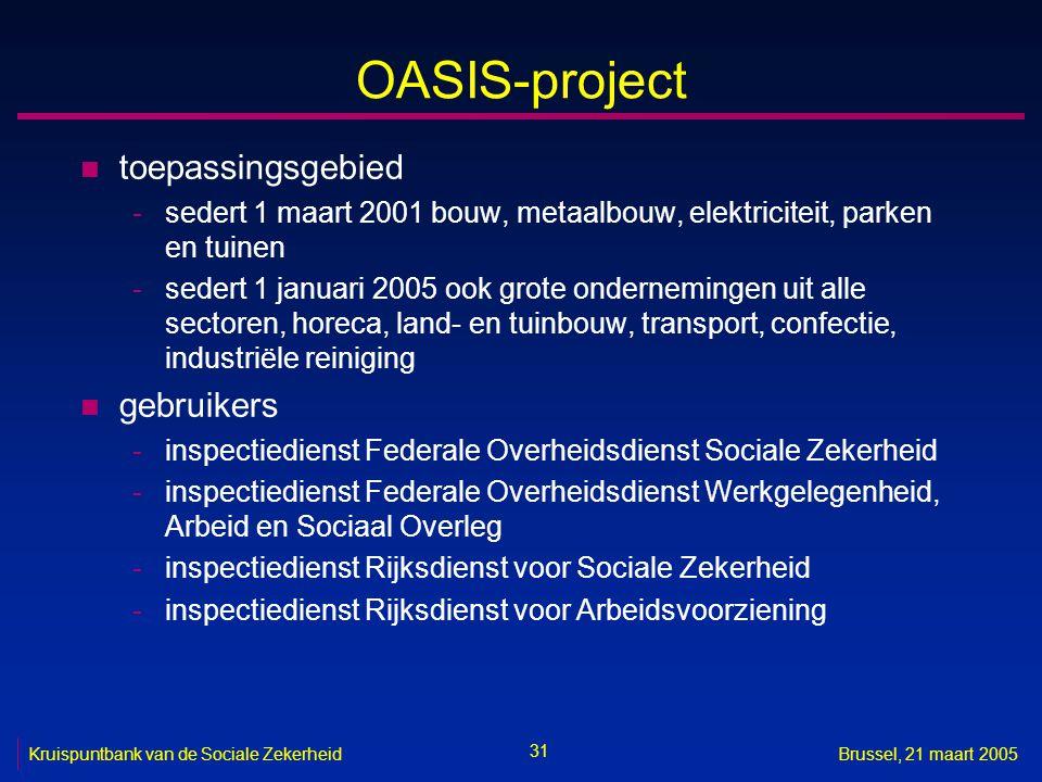 OASIS-project toepassingsgebied gebruikers