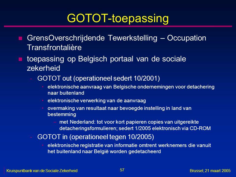 GOTOT-toepassing GrensOverschrijdende Tewerkstelling – Occupation Transfrontalière. toepassing op Belgisch portaal van de sociale zekerheid.