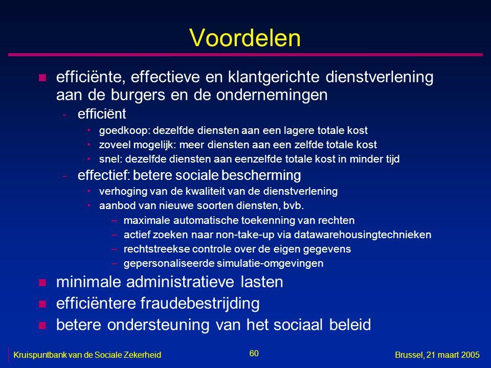 Voordelen efficiënte, effectieve en klantgerichte dienstverlening aan de burgers en de ondernemingen.