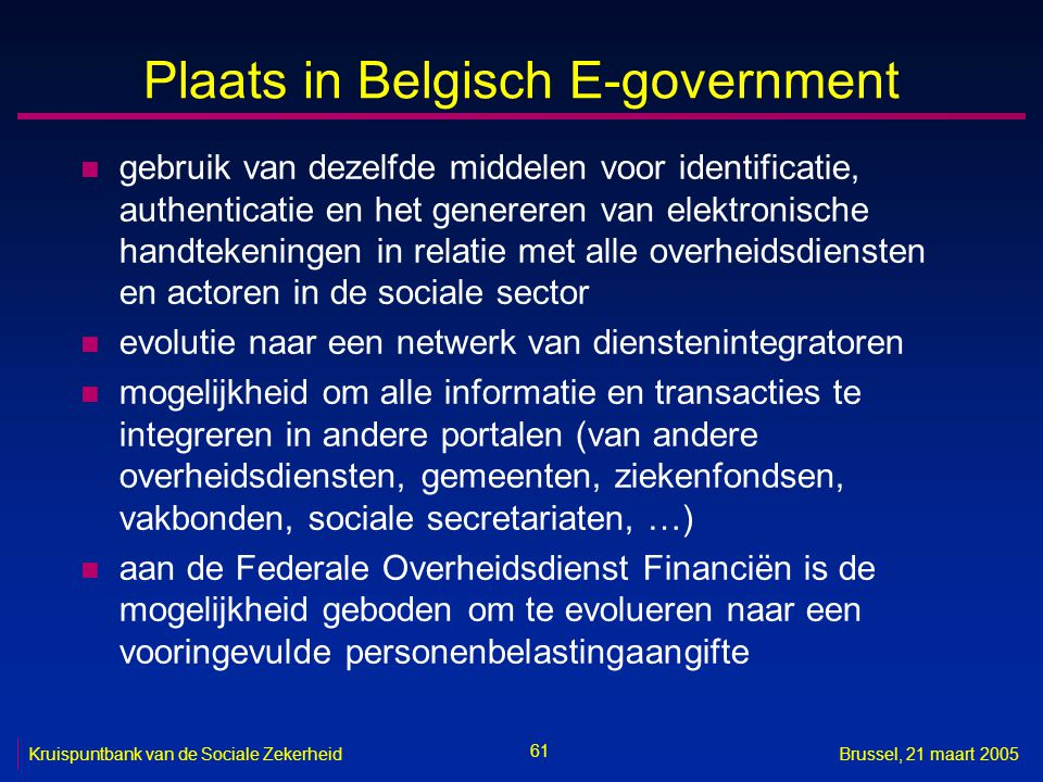 Plaats in Belgisch E-government