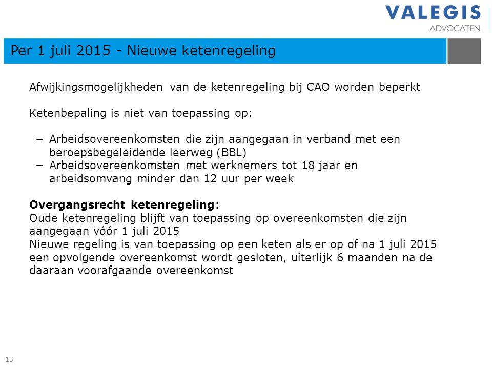 Per 1 juli 2015 - Nieuwe ketenregeling