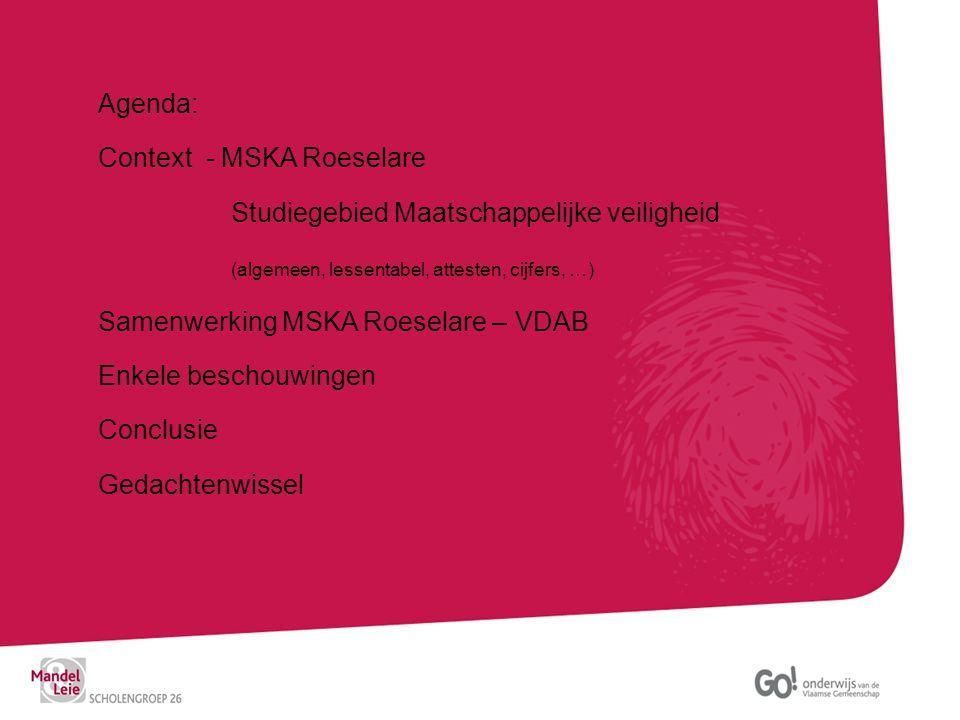 Agenda: Context - MSKA Roeselare. Studiegebied Maatschappelijke veiligheid. (algemeen, lessentabel, attesten, cijfers, …)
