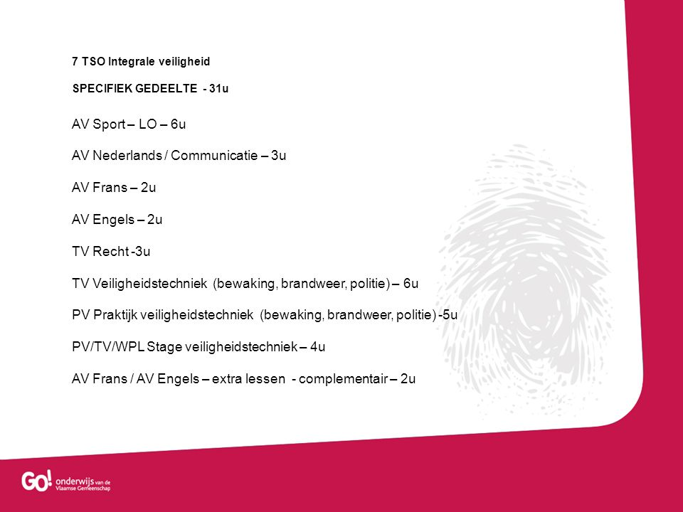 AV Nederlands / Communicatie – 3u AV Frans – 2u AV Engels – 2u