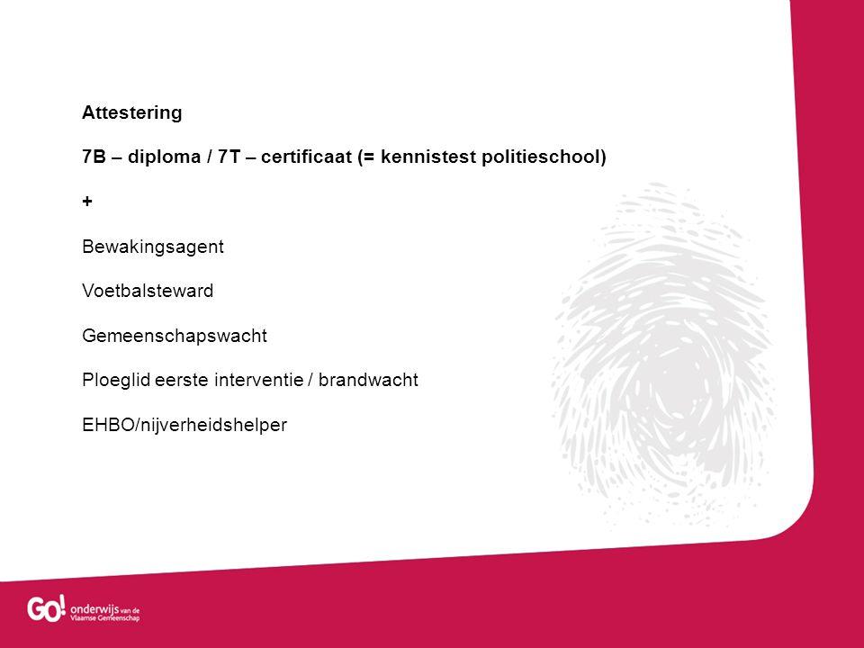 Attestering 7B – diploma / 7T – certificaat (= kennistest politieschool) + Bewakingsagent. Voetbalsteward.