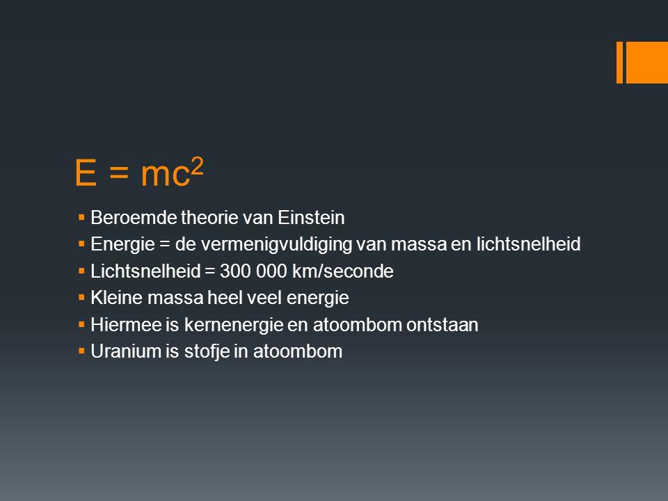 E = mc2 Beroemde theorie van Einstein