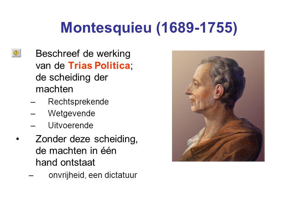 Montesquieu (1689-1755) Beschreef de werking van de Trias Politica; de scheiding der machten. Rechtsprekende.
