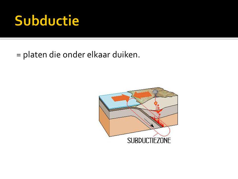 Subductie = platen die onder elkaar duiken.