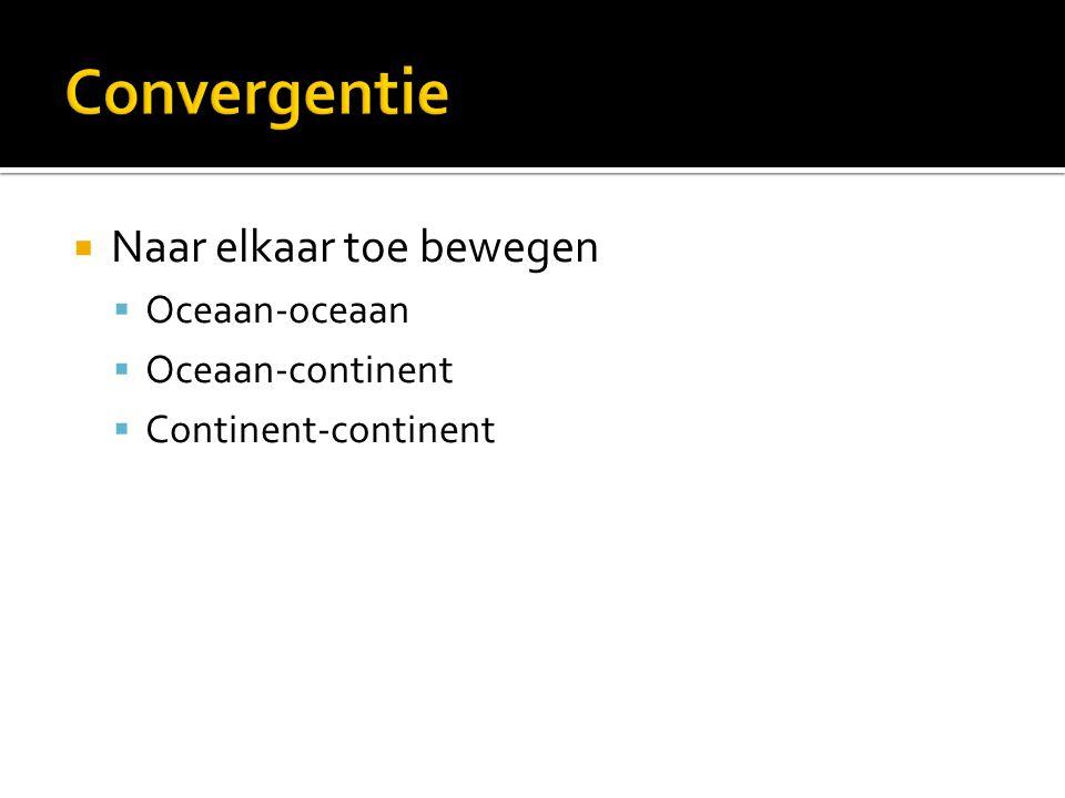Convergentie Naar elkaar toe bewegen Oceaan-oceaan Oceaan-continent