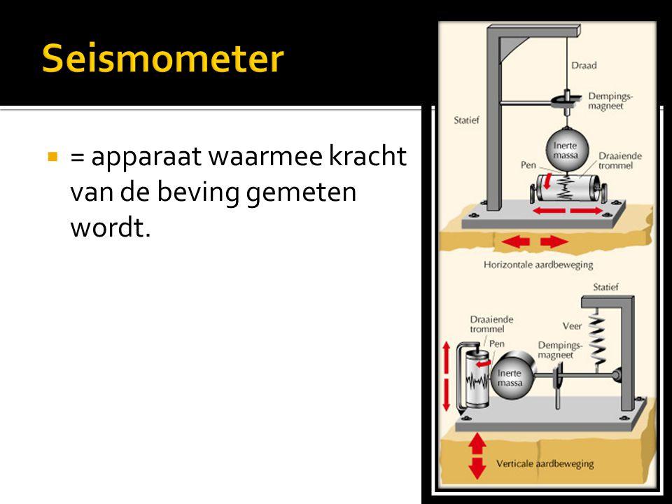 Seismometer = apparaat waarmee kracht van de beving gemeten wordt.
