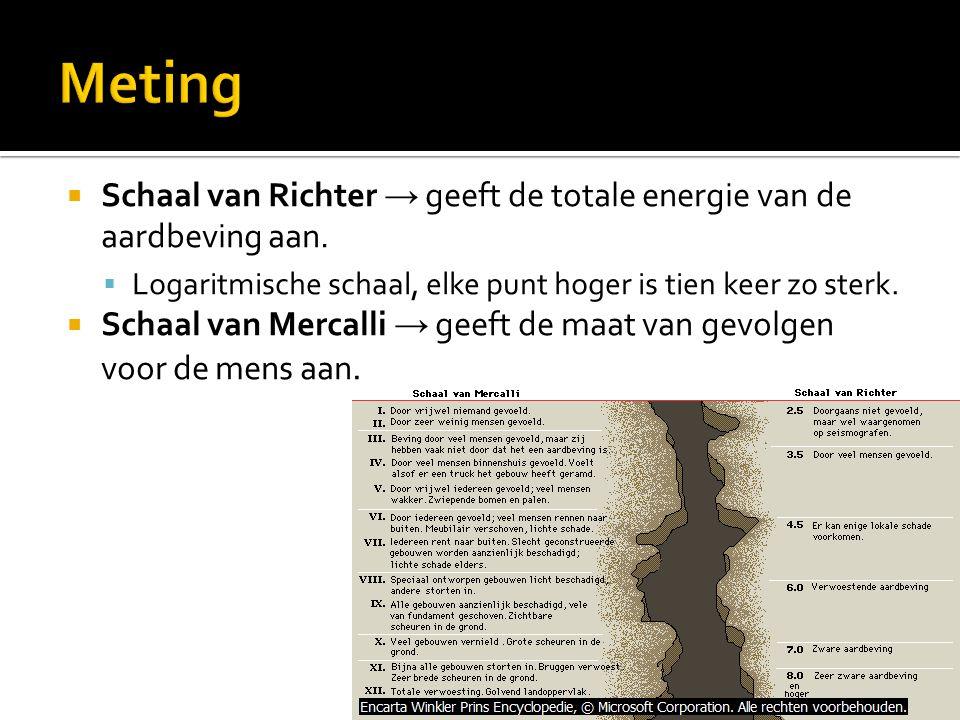 Meting Schaal van Richter → geeft de totale energie van de aardbeving aan. Logaritmische schaal, elke punt hoger is tien keer zo sterk.
