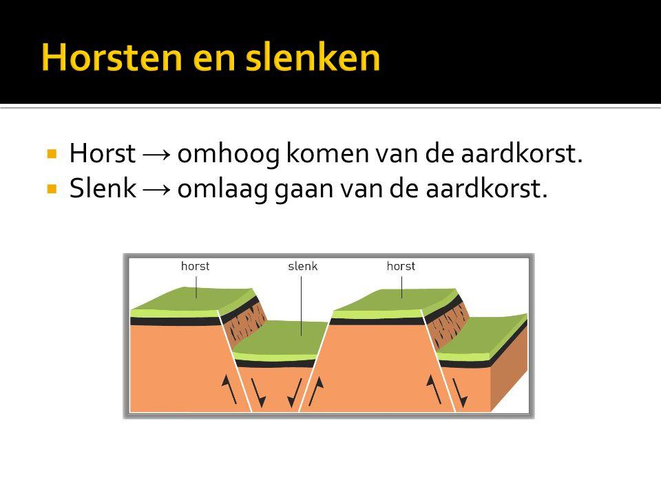 Horsten en slenken Horst → omhoog komen van de aardkorst.