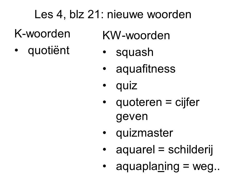 Les 4, blz 21: nieuwe woorden