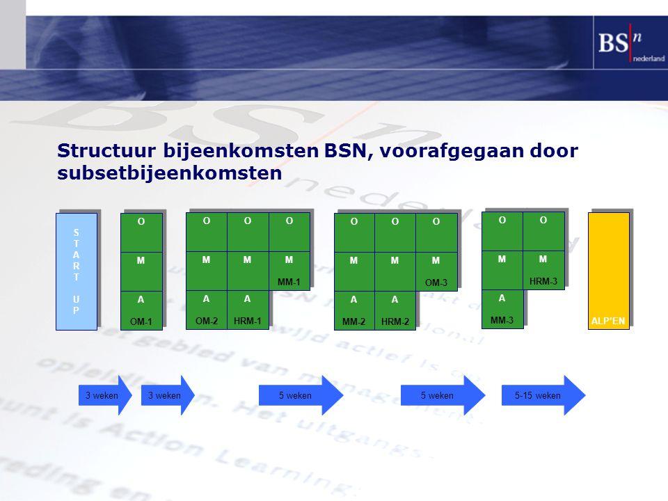 Structuur bijeenkomsten BSN, voorafgegaan door subsetbijeenkomsten