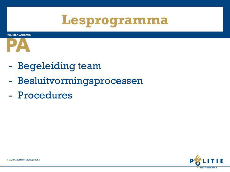 Lesprogramma - Begeleiding team - Besluitvormingsprocessen
