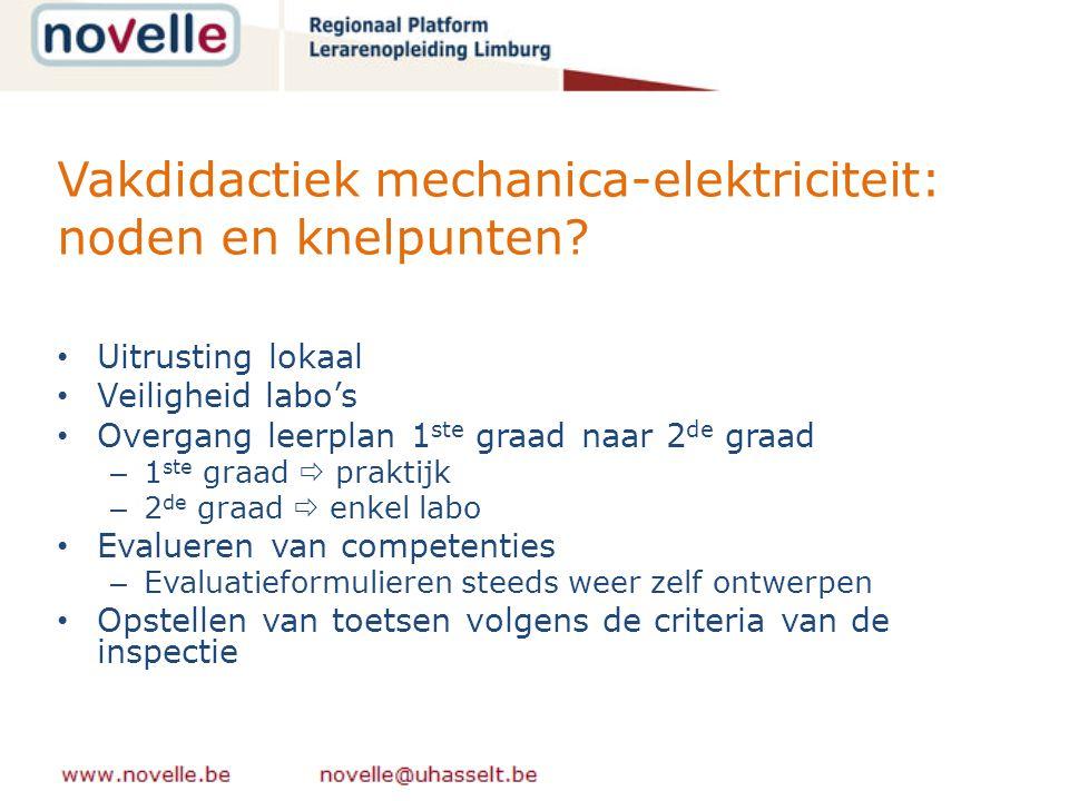Vakdidactiek mechanica-elektriciteit: noden en knelpunten