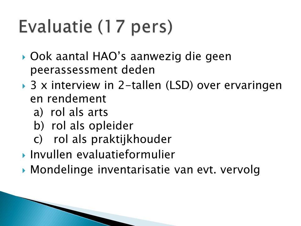 Evaluatie (17 pers) Ook aantal HAO's aanwezig die geen peerassessment deden.